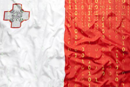 Data protection, binary code with Malta flag Standard-Bild