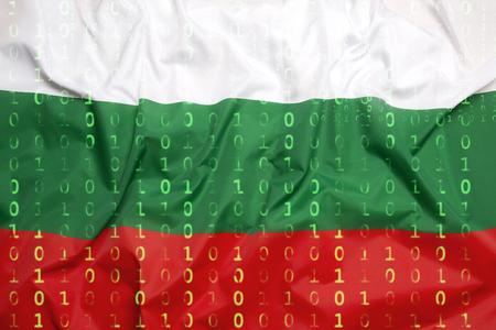 Data protection, binary code with Bulgaria flag