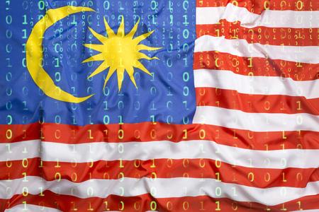 Data protection, binary code with Malaysia flag Standard-Bild