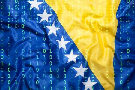 Data protection, binary code with Bosnia and Herzegovina flag