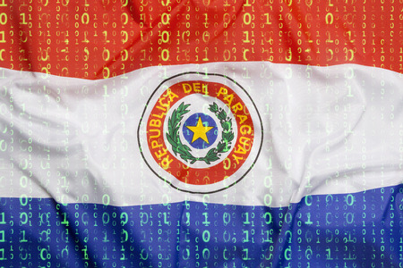 Data protection, binary code with Paraguay flag