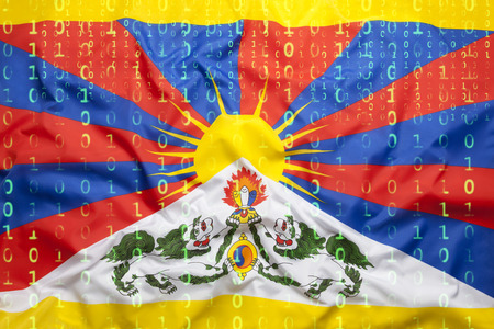 Data protection, binary code with Tibet flag Stock Photo
