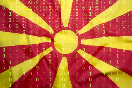Data protection, binary code with Macedonia flag