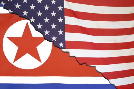 North Korea breaks with USA, political flag concept Zdjęcie Seryjne