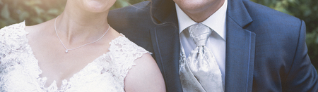 Panorama of a bride and a groom iin the park, wedding banner Stok Fotoğraf