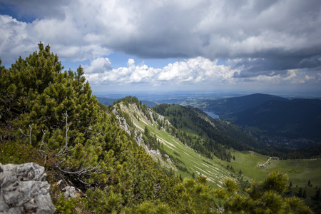 Mountain panorama view of Brecherspitze, Bavaria, Germany in summertime Stock Photo