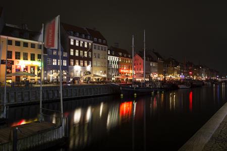Nyhavn in Copenhagen, Denmark, at night