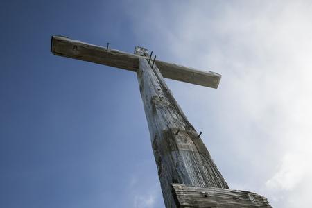 Summit cross at Taubenstein mountain, Bavaria, Germany Stockfoto