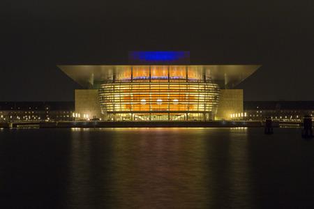 Opera of  Copenhagen at night, Denmark, long time exposure