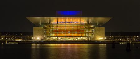 Panorama of opera of  Copenhagen at night, Denmark, long time exposure
