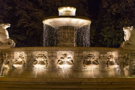 Wittelbacher fountain on Lenbachplatz in Munich, Bavaria, Germany Editorial