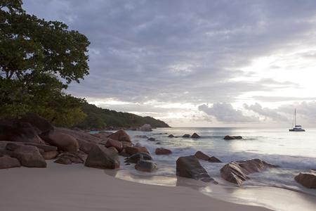 Dramatic coastline at sunset, Anse Lazio, Seychelles