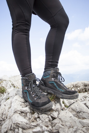 Hiking boots on a mountain tour in Bavarian Alps 写真素材
