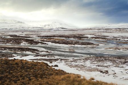 Wide lens capture in winter landscape in North Iceland