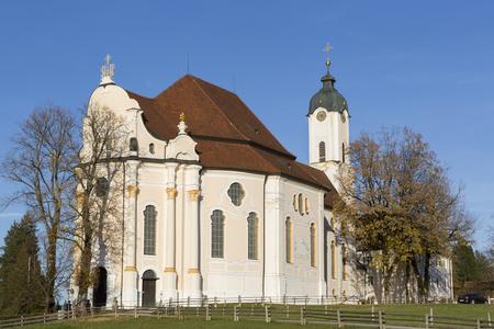 Pilgrimage Church Wieskirche in Pfaffenwinkel in Bavaria, Germany
