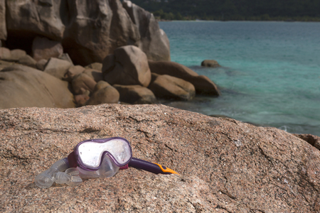 Snorkeling equipment at Pierre island, Seychelles, summertime Stock Photo