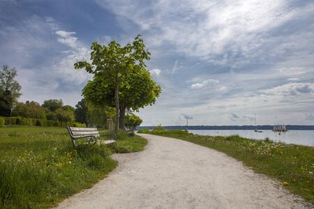 Lake promenade of Lake Starnberg, Bavaria in Germany