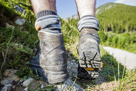 Hiking boots on a mountain tour in Bavarian Alps Stock Photo