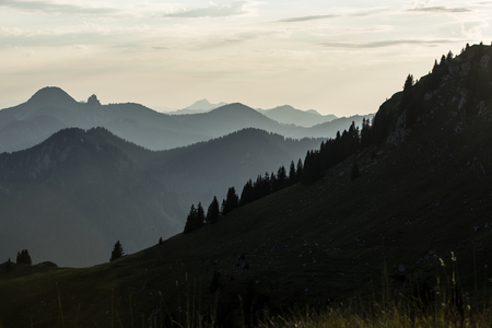 Sunset mountain panorama view from mountain Rotwand in Bavaria, Germany