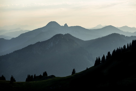 Sunset mountain panorama view from mountain Rotwand in Bavaria, Germany 写真素材 - 124552718