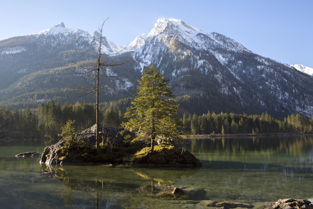 Famous lake Hintersee, Bavaria, Germany with snowy mountains