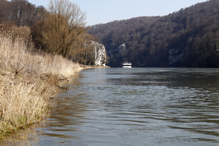 Danube breakthrough at Monastery Weltenburg in Kehlheim, Bavaria, Germany Stock Photo