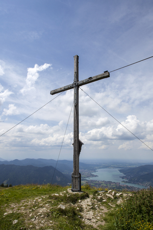 Summit cross of Setzberg mountain, Bavaria, Germany 写真素材 - 124552755