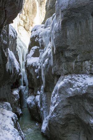 Partnachklamm in Garmisch-Partenkirchen, Bavaria, Germany, in wintertime Stock Photo