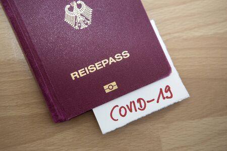 Ban of flight between countries, passport with Covid-19, Coronavirus concept