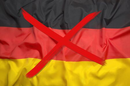 Red crossed out flag of Germany, curfew concept