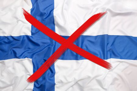 Red crossed out flag of Finland, curfew concept