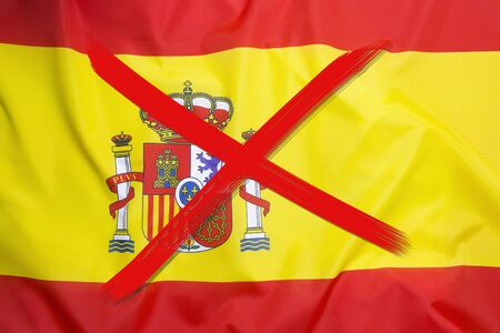 Red crossed out flag of Spain, curfew concept