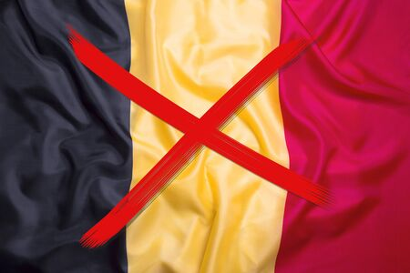 Red crossed out flag of Belgium, curfew concept