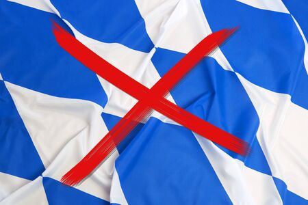 Red crossed out flag of Bavaria, curfew concept