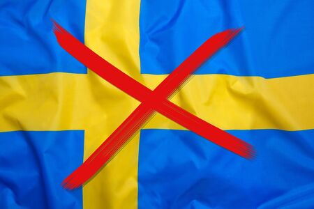 Red crossed out flag of Sweden, curfew concept