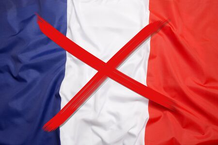 Red crossed out flag of France, curfew concept
