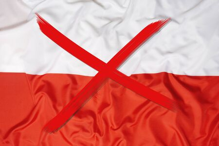 Red crossed out flag of Poland, curfew concept 写真素材