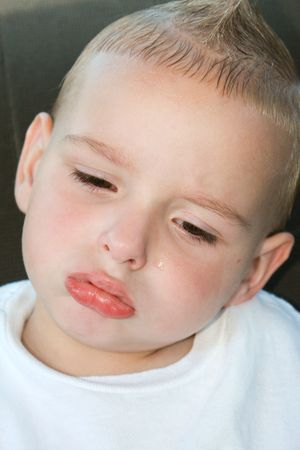 A sad, pouting toddler who is tired. Stock Photo - 4421518