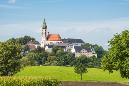 Monastery Andechs in Bavaria on a sunny day with blue sky Stock Photo