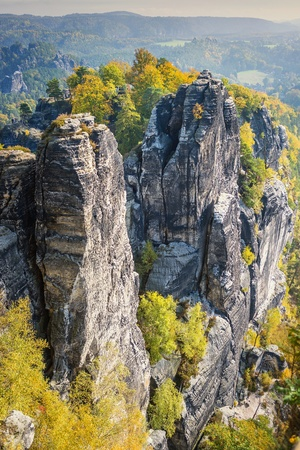 Stones and rocks in Saxon Switzerland Germany on a sunny day in autumn photo
