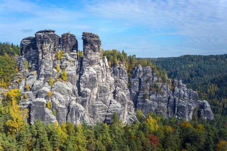 Rock formation in Saxon Switzerland Germany on a sunny day in autumn photo