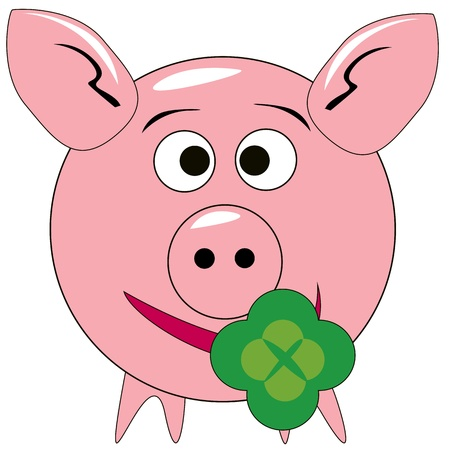 vektor picture of a pink pig with green cloverleaf on white background Vector