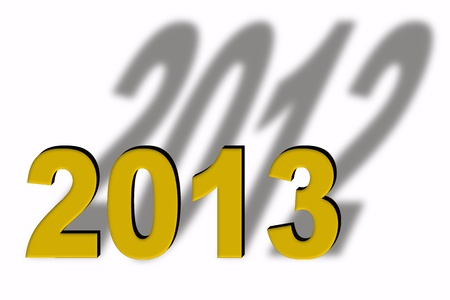 turn of the year: Turn of the year, golden letters, 2013 with shadow 2012