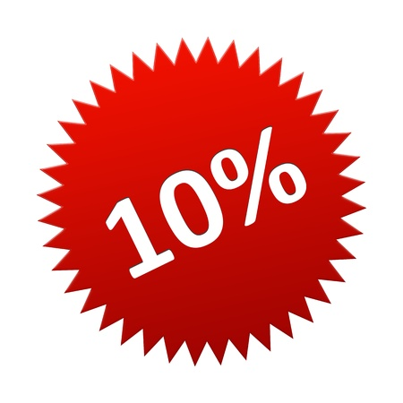 Red Button 10 Percent for sales, discount, off Stock Photo