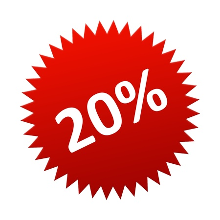 offer icon: Red Button 20 Percent for sales, discount, off