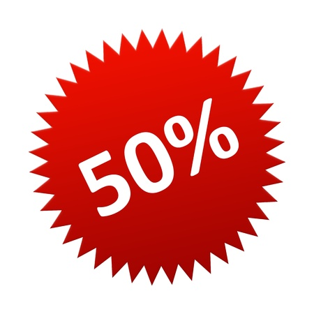 Red Button 50 Percent for sales, discount, off photo