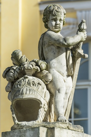 Statue with helmet made of stone in Dresden photo