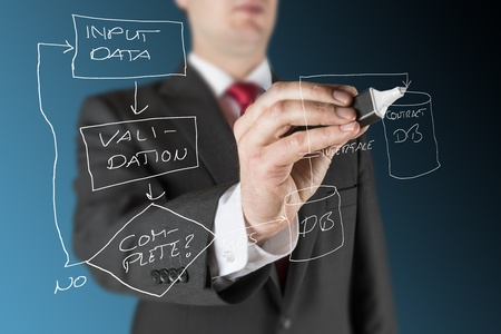 business man on blue background is drawing white flow chart regarding computer system process photo