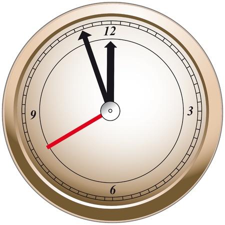 showed: Illustration of a bronze clock with showed time 11 55 Illustration