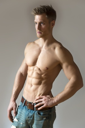 Well trained sport man with pectoral and abdominal muscle Stock Photo